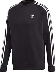 adidas 3-Stripes Crew Sudadera, Hombre, Negro, 2XL