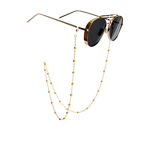 Retro Non-Slip Metal Eyeglass Beaded Necklace Glasses Chain Sunglasses Neck Strap Eyewear Retainer Rope Holder For Women - Necklace Sunglass