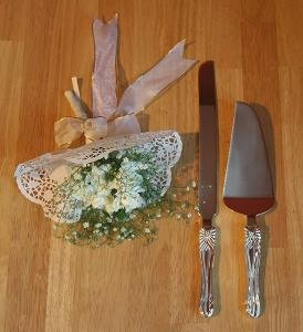 Brass & Silver Traditions Bow Cake Knife Set