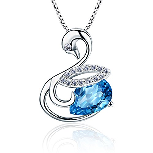 Aiblii Pendant Necklace of Blue Swarovski Crystal Swan Jewelry for Women Christmas Gift Amber Rhinestone Necklace