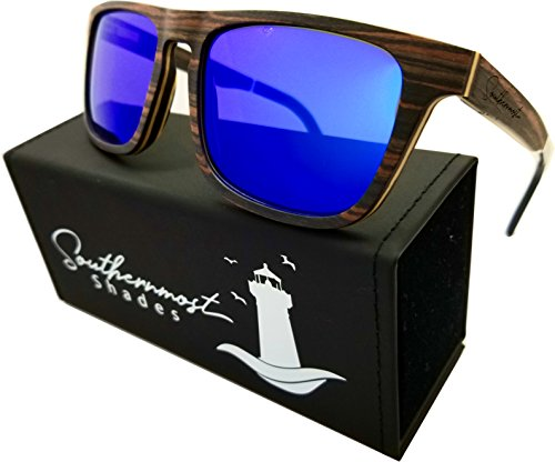 Natural Wood Sunglasses for Men - Wooden Frame - Genuine Polarized Lenses (Ebony Wood - Blue Mirror Lenses) by Southernmost Shades