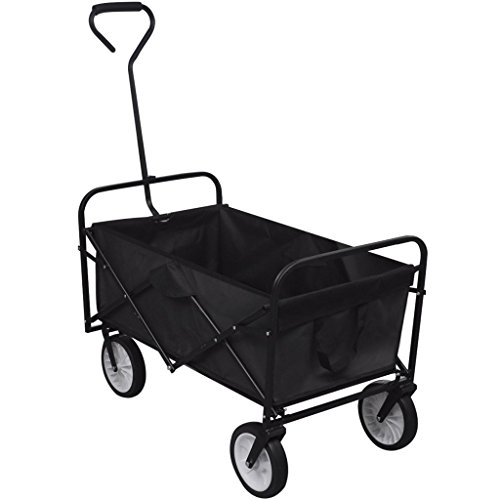 Wagon Ames - Folding Collapsible Utility Wagon Garden Patio Yard Cart Shopping / Outdoors / Beach / Camping Cargo Cart, Black