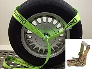 product image for Safe 'n Secure 10ft Diamond Weave Lasso Strap with O-Ring and Finger Hook Ratchet (Hi-Viz Green, ONE)
