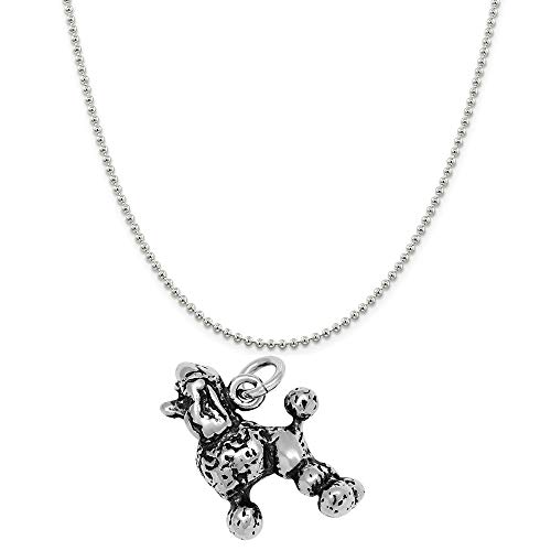 Raposa Elegance Sterling Silver 3D Poodle Charm on a Sterling Silver 18