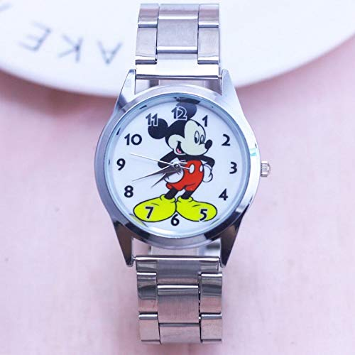 Mickey Mouse Wristwatch Watch Women's Men's Boys Girl's Teens Silver Stainless Steel Quartz Analog Winding