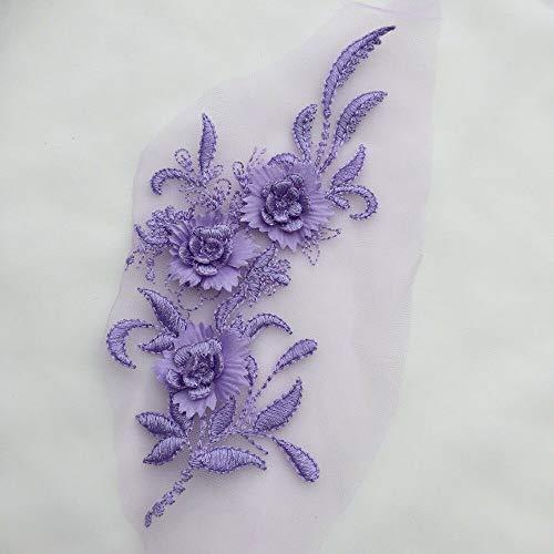 3D Embroidery Flower Lace Bridal Applique DIY Wedding Dress Decor (Color - Purple) ()