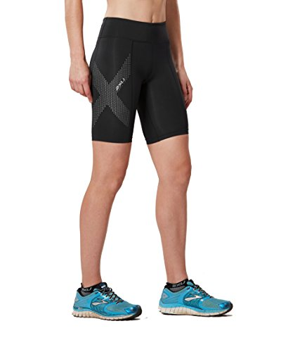 2XU Women's Mid-Rise Compression Shorts, Black/Dotted Reflective Logo, - Triathlon Uniform