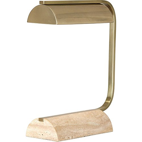 Robert Abbey Julian Modern Brass and Travertine Desk Lamp ()