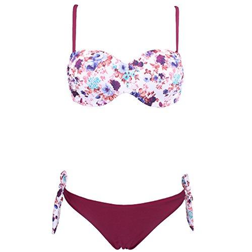 JingQi Women's Bandeau Push Up Floral Beach Wear Swimwear Bikini (Medium, Purple)