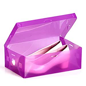 HuntGold 1X Home Thicken Plastic Shoes Box Stackable Container Shoe Organizer Storage Case Holder(Purple)