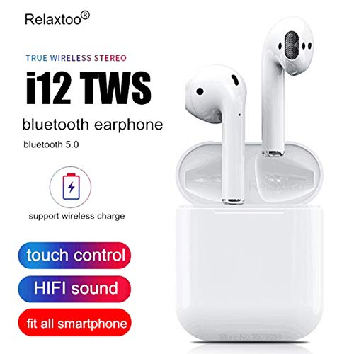 i12 TWS Wireless Earphone Bluetooth 5.0 Touch Earbuds Headset with Charger Box - White (White, Charger Box)