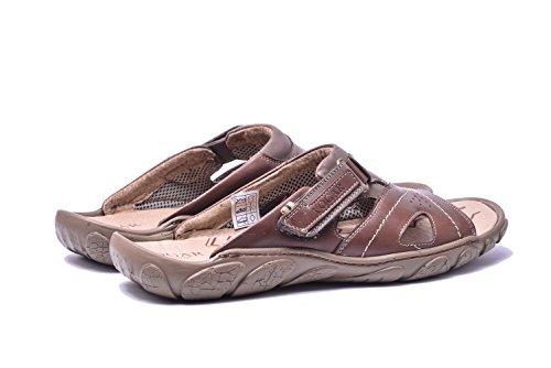 On Slip VG1128 Leather Brown Flat Shoes Mens Sandals Vogar Beach Summer E51qxnz