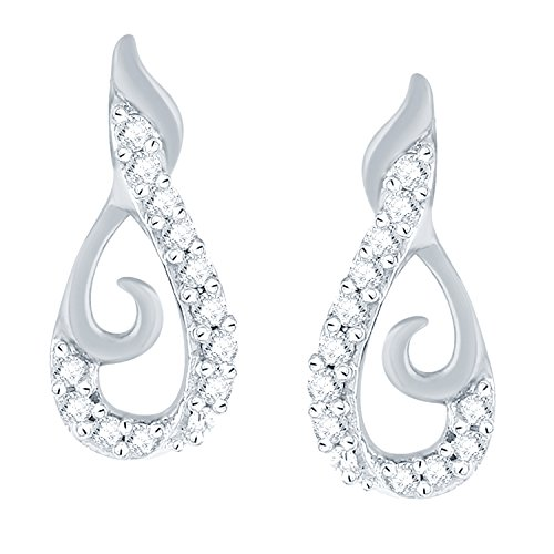 10k Diamond Fashion Stud Earring for Women's in White Gold IGL Certified ( 0.094 Ct, SI Clarity, GH Colour)