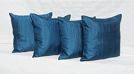 Juego de 4 43,18 cm azul oscuro Crush seda sintética para ...