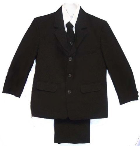 Boys and Teens Black or Navy Dress Suit 5 Piece, Vest, Shirt, Coordinated Tie