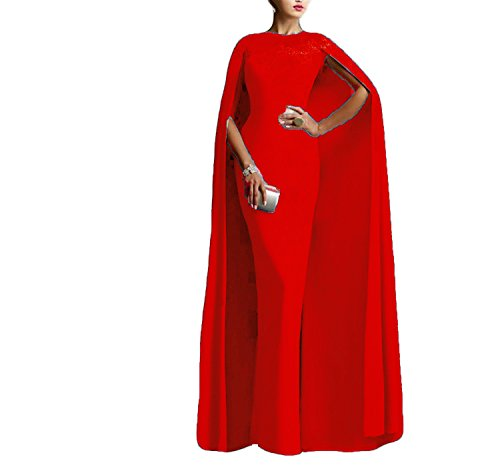 Ellenhouse Women's Long Mermaid Formal Gown Prom Evening Dresses With Cape ,Red,16