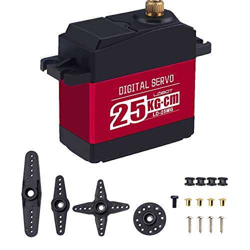 Hiwonder LD-25MG Full Metal Gear Standard Digital Servo with 25kg High  Torque, Aluminium Case for Robot RC Car(Control Angle 180)