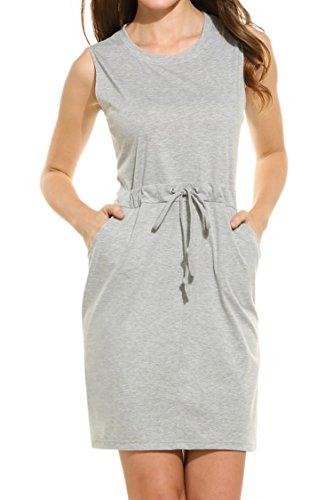 Meaneor Women's Casual Sleeveless Drawstring Waist Dress Crew (Drawstring Dress)