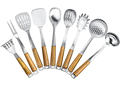 Kitchen Maestro, Stainless Steel Utensil Set with Acacia Wood Grips by Kitchen Maestro