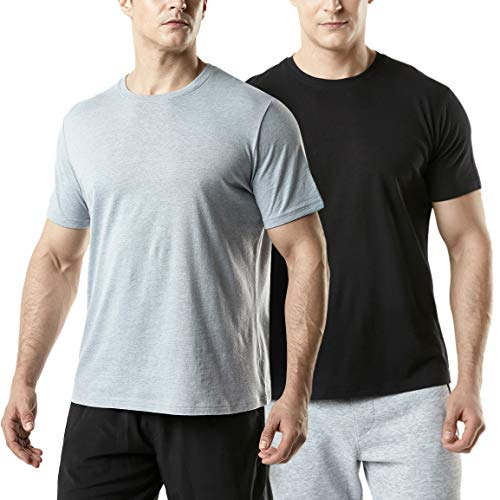 (TSLA Men's (Pack of 2) FlexDri Short Sleeve T-Shirt Athletic Cool Running Top, Active Dyna Cotton 2pack(mts52) - Black/Grey, Large)