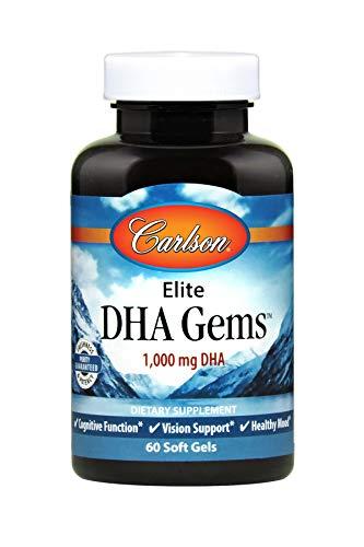 (Carlson - Elite DHA Gems, 1000 mg DHA, Supports Healthy Brain Function & Vision, 60 Soft gels )