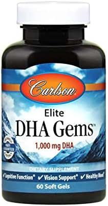 Carlson - Elite DHA Gems, 1000 mg DHA, Supports Healthy Brain Function & Vision, 60 Soft gels