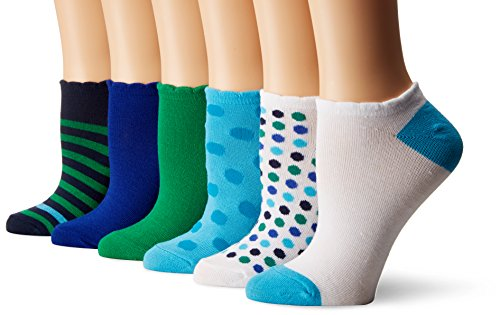 No Show Scalloped Edge Liner Sock 6-Pack, Assorted, 4-10 (Scalloped Edge Patterned)