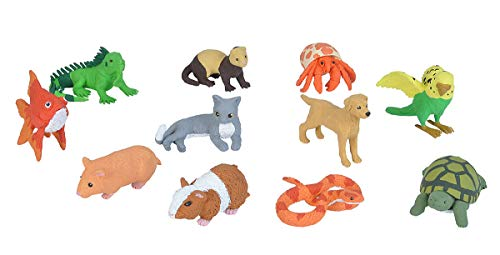Wild Republic Pets Figurines Tube, Turtle, Guinea Pig, Snake, Hamster, Hermit Crab, Yellow Lab, Ferret, Iguana, Rabbit, Parakeet, Gold Fish, Grey Cat
