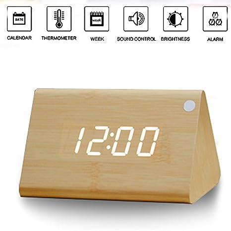 Madera reloj despertador, reloj despertador digital, mesita de noche de madera Wake Up reloj