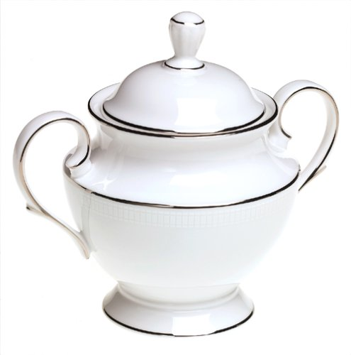 Lenox Tribeca Platinum-Banded Bone China Lidded Sugar (Fine China Covered Sugar Bowl)