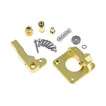 Usongshine CR-10 Extruder, Aluminium MK8 Drive Feed 3D-Drucker-Extruder-Kit für Creality CR-10, CR-10S, CR-10 S4, CR-10 S5, RepRap Prusa i3, Ender 3/ 3Pro (Gold, Links)