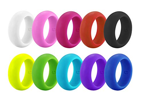 Rinspyre Set of 10 Womens Silicone Ring Rubber Band, 8MM Wide, Candy Rainbow Colorful Mint, Coral, Red, Pink, Black, Size 10
