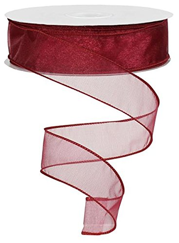 Sheer organza ribbon wired 150ft spool (burgundy)