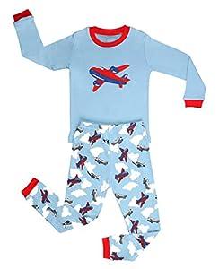 "Elowel Little Boys""Airplane"" 2 Piece Pajama Set 100% Cotton (Size6M-8Y)"