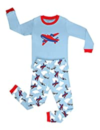 "Elowel Little Boys""Airplane"" 2 Piece Pajama Set 100% Cotton (Size6M-8Y)"