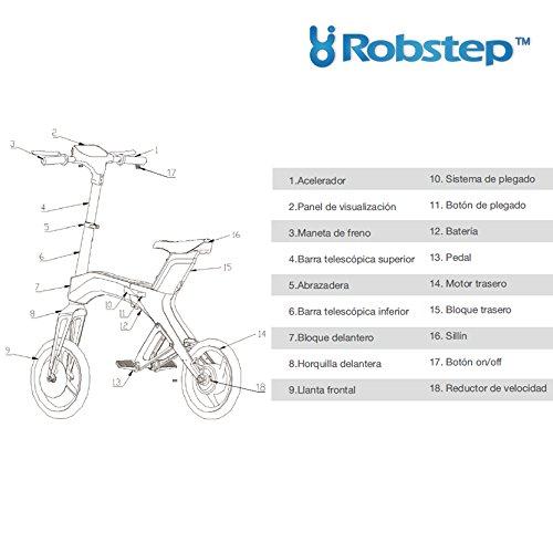 Robstep X1 BICICLETA ELÉCTRICA PLEGABLE Autonomía h/25kms Velocidad máx. 20km/h Motor 300w Peso 17kg.: Amazon.es: Deportes y aire libre