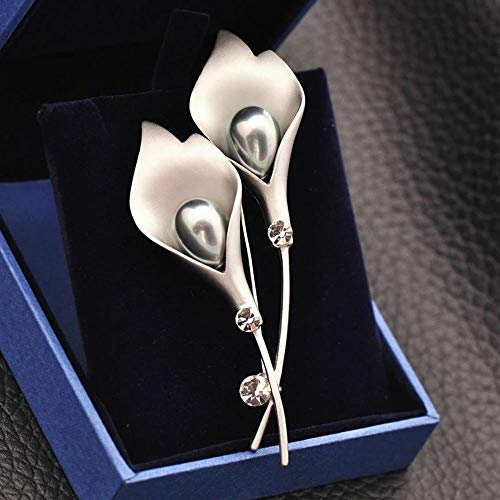 Lovely Women Gift Flower Shape Brooch Pin Fashion Jewelry Badge Scarf Clip Pins (Color - Silvergrey)