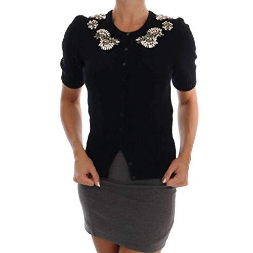 Dolce & Gabbana Black Cashmere Crystal Cardigan Sweater