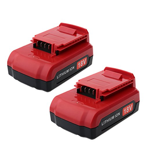 Biswaye 2 Pack 2.0Ah 18V Lithium Ion Battery for All Porter Cable 18-Volt Cordless Power Tools PC18B PC18BL PC18BLX - Battery Cable Volt Porter 18