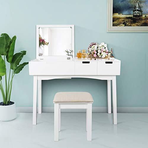Vanity Set with Dressing Table Flip Top Mirror Organizer Cushioned Stool Makeup - Drawers Vanity With Mirrors And Bathroom