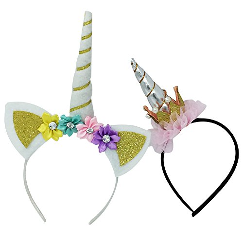 Lflower Unicorn Headband Gold Unicorn Flower by Halloween Decorations ()