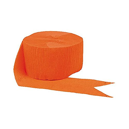 Amscan (Amsdd Party Perfect Plain Crepe Streamers Decorations (24 Piece), Orange Peel, 81'