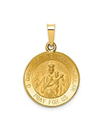 14k Yellow Gold Queen Of The Holy Scapular Reversible Medal Pendant Charm Necklace Religious Fine Jewelry Gifts For Women For Her