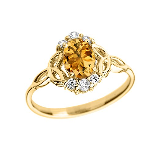 Elegant 14k Yellow Gold Diamond Trinity Knot Proposal Ring with Genuine Citrine (Size 6) 14k Yellow Gold Trinity Knot