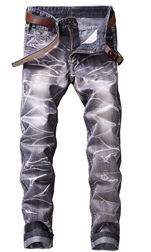 Basic Straight Leg Jeans - KUYIGO Men's Slim Fit Jeans Fashion Stretch Straight-Leg Basic Denim Pants Gray