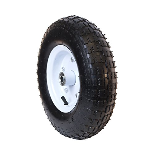 ALEKO-WBAP13-Ribbed-Pneumatic-Replacement-Wheel-for-Wheelbarrow-13-Inch-Air-FIlled-Turf-Tire-for-Hand-Trucks-and-Lawn-Carts-Black-Tire-White-Rim