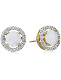 18k Yellow Gold and Rhodium-Plated Sterling Silver Created White Opal and Cubic Zirconia Stud Earrings