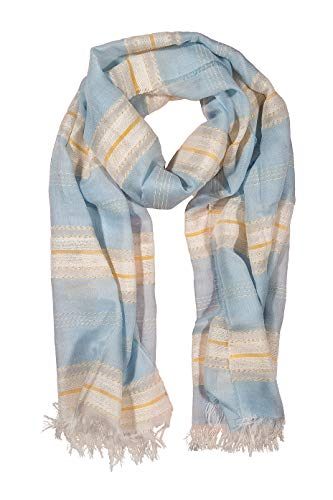 GIULIA BIONDI Sparkle Lurex Striped Fashion Scarf Soft Large Shawl Wrap Women MADE IN ITALY (Light-Blue) ()