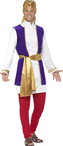 Arabian Costumes For Men (Smiffy's Men's Arabian Prince Costume, Top, Waistcoat, pants, Belt and Turban, Around the World, Serious Fun, Size L, 24703)