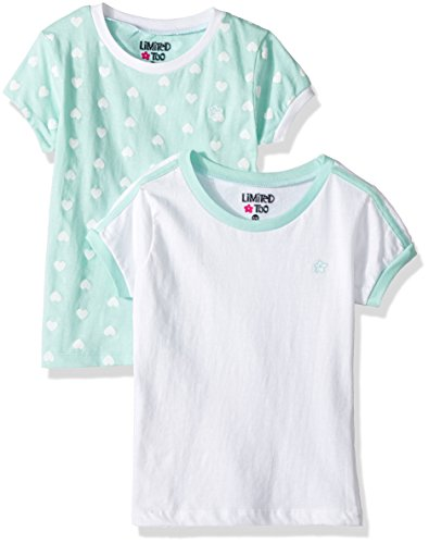 Top Shirt Limited Too - Limited Too Girls' Little 2 Pack Short Sleeve Ringer Tee, KW23 Multi 5/6